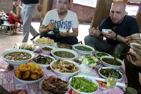 A traditional Dai dinner in a Dai house, Xishuangbanna